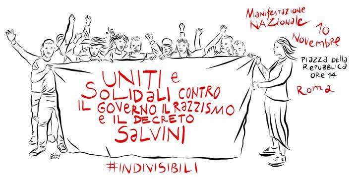 Uniti contro il governo, il razzismo e il decreto Salvini