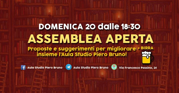 Assemblea aperta dell'Aula Studio Piero Bruno