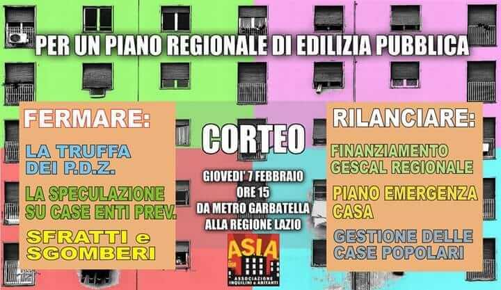 Corteo Cittadino per il Diritto alla Casa alla Regione Lazio