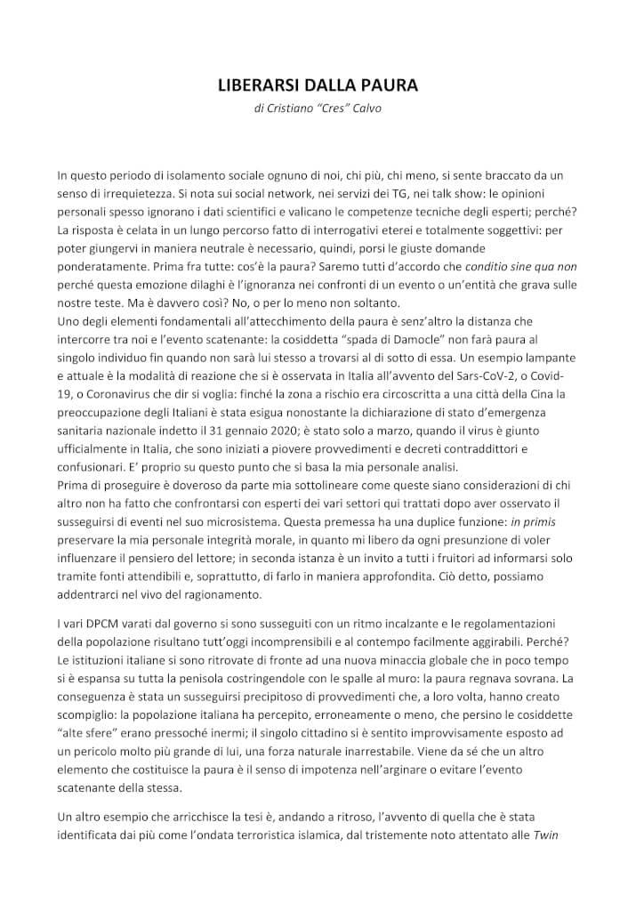 """LIBERARSI DALLA PAURA #1 di Cristiano """"Cres"""" Calvo"""